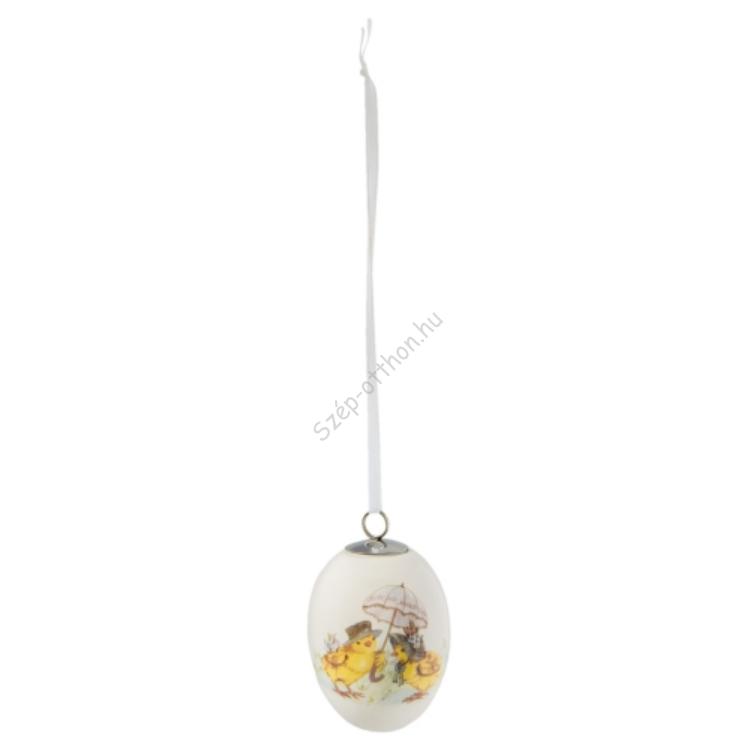 Clayre & Eef 6CE0805 Kerámia tojás függődísz 5x7cm, csibék esernyővel
