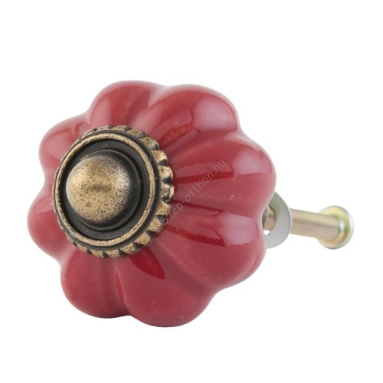 Ajtógomb piros virág, kerámia, 3cm