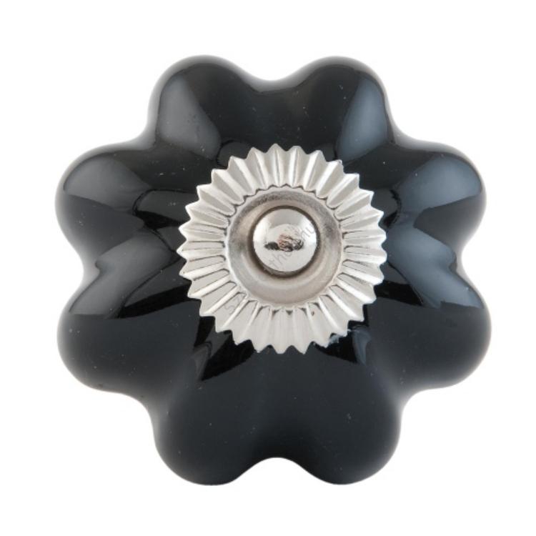 Clayre & Eef 63511 Ajtófogantyú porcelán gömb 4cm, fekete-fém közép