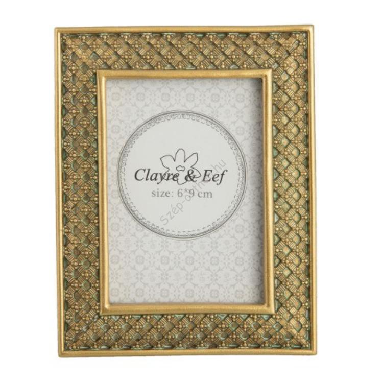 Clayre & Eef 2F0521GO Képkeret műanyag 9x12/6x9cm kép, arany fonott mintás