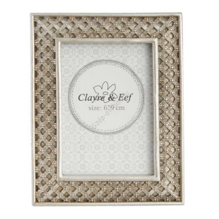 Clayre & Eef 2F0521ZI Képkeret műanyag 9x12/6x9cm kép, ezüst fonott mintás