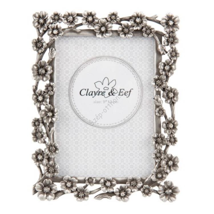 Clayre & Eef 2F0530M Képkeret ezüst fém, virágos, kövekkel, 9x13cm