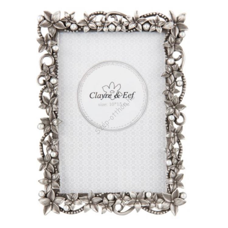 Clayre & Eef 2F0527M Képkeret fém, ezüst 14x18cm/10x15cm, virágos-gyöngyös