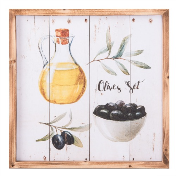 """Clayre & Eef 6H1664 Fa fali kép """"Olives Set"""" 40x2x40cm"""