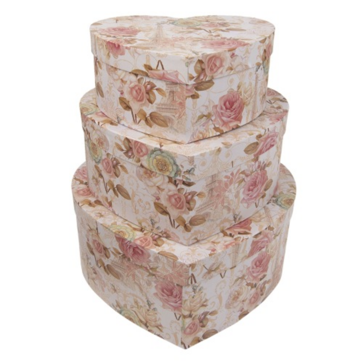Clayre & Eef 64045 Kartondoboz szett S/3 szív alakú, rózsás-eiffel tornyos 31x28x13 / 27x24x11 / 22x20x9cm
