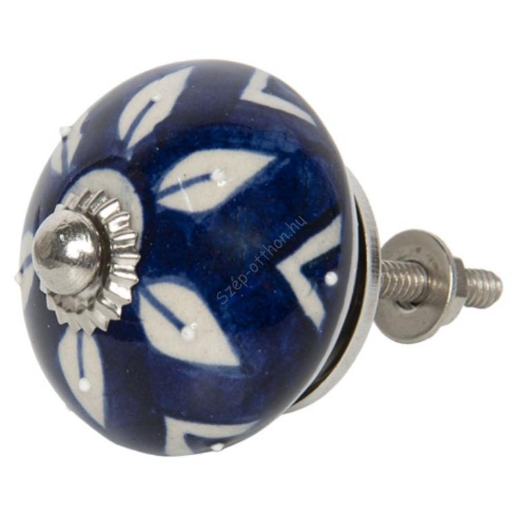 Clayre & Eef 64163 Ajtófogantyú gomb 4x4cm kerámia, kék-fehér