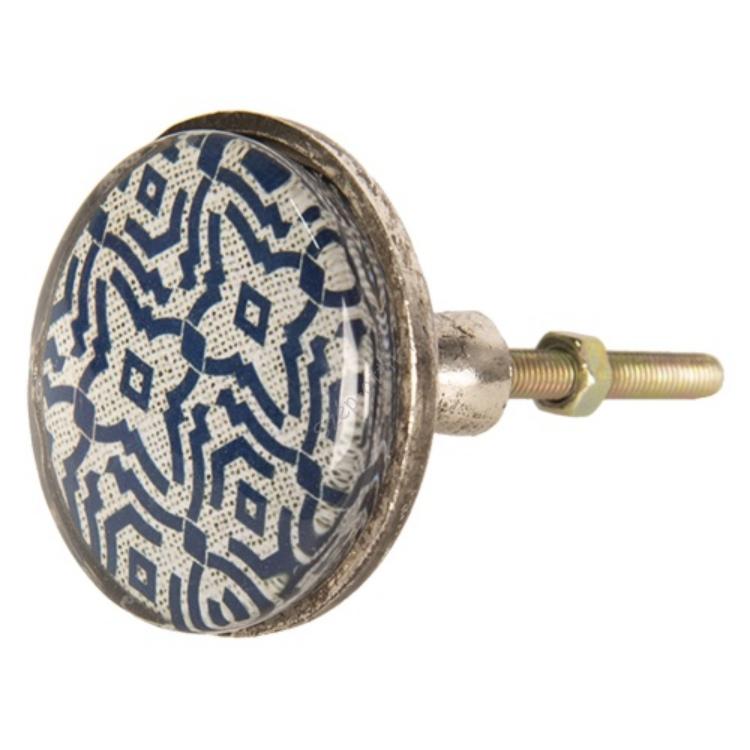 Clayre & Eef 64286 Ajtófogantyó fém, kék mintás,5x8cm