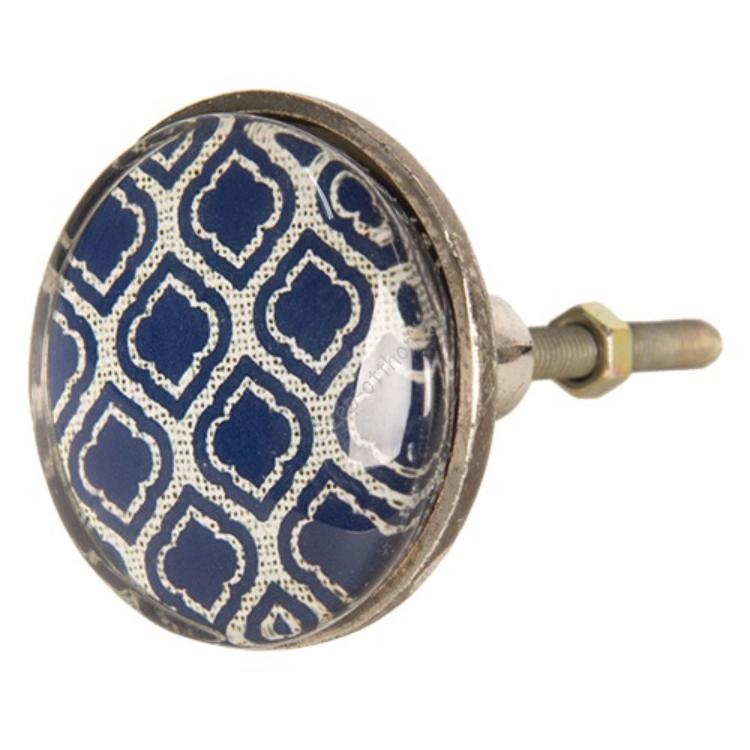 Clayre & Eef 64287 Ajtófogantyú fém, kék mintás, 5x8cm