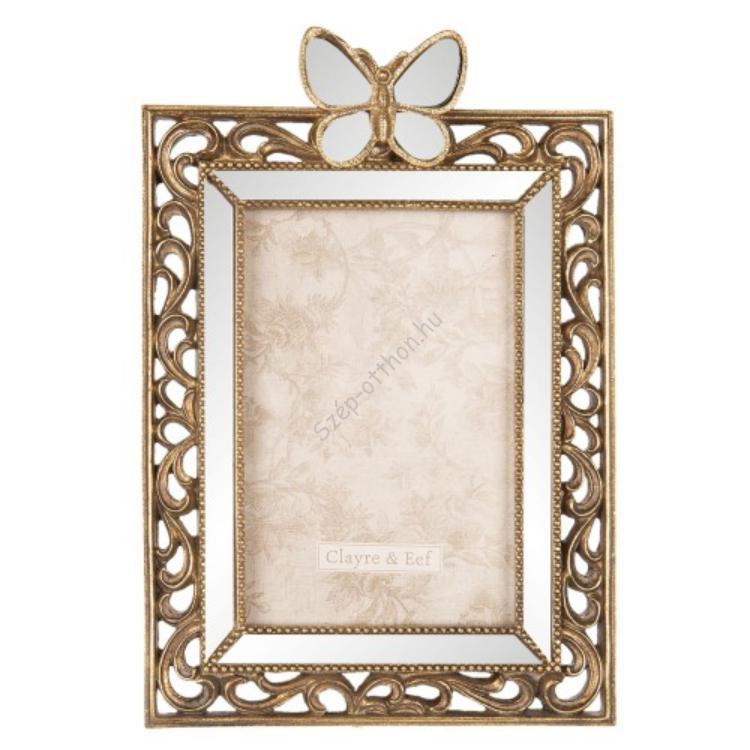Clayre & Eef 2F0599 Fotókeret pillangós, tükrös,antik arany, műanyag, 16x24cm