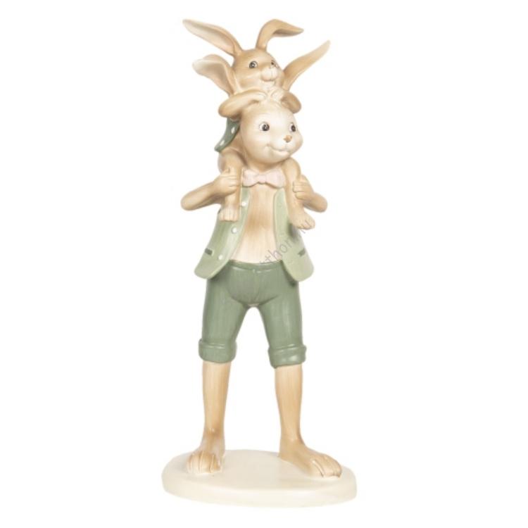 Clayre & Eef 6PR2637 Húsvéti műanyag dekorfigura 10x10x25cm, papanyúl nyakában gyereknyuszival