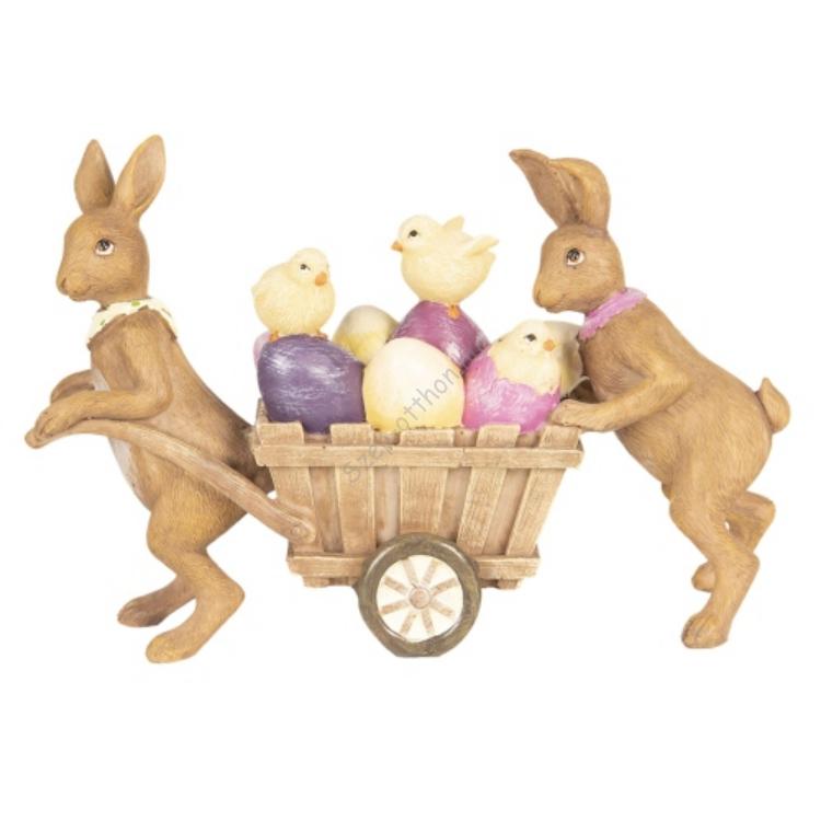 Clayre & Eef 6PR2643 Húsvéti műanyag dekorfigura 21x6x14cm,nyuszik szekérrel,színes tojásokkal,csibékkel