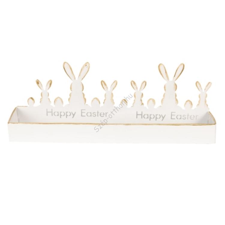 Clayre & Eef 64330 Fém húsvéti nyuszis tál, 40x8x14cm, fehér,aranyozott szélekkel