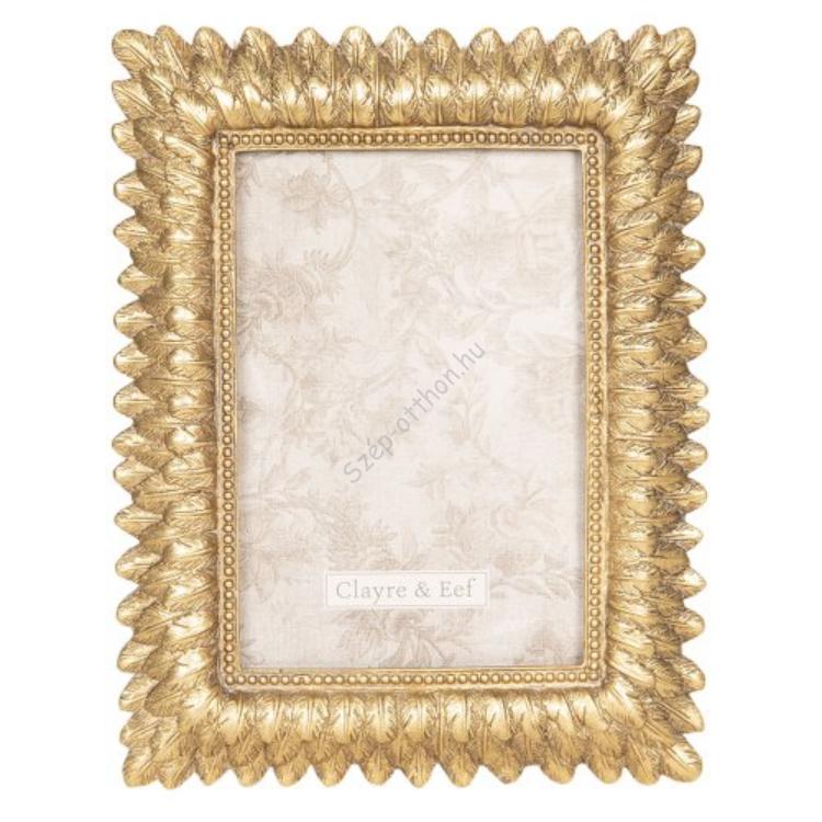 Clayre & Eef 2F0607 Képkeret 16x20cm/10x15cm, aranyozott levélmintás, műanyag