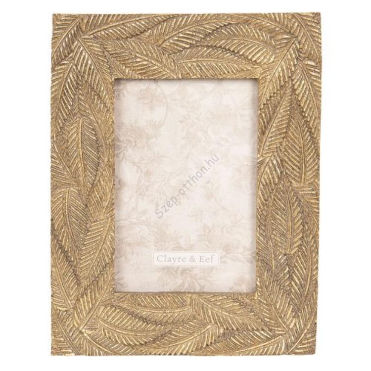 Clayre & Eef 2F0610 Képkeret 18x22cm/10x15cm, antikolt arany levél mintával, műanyag