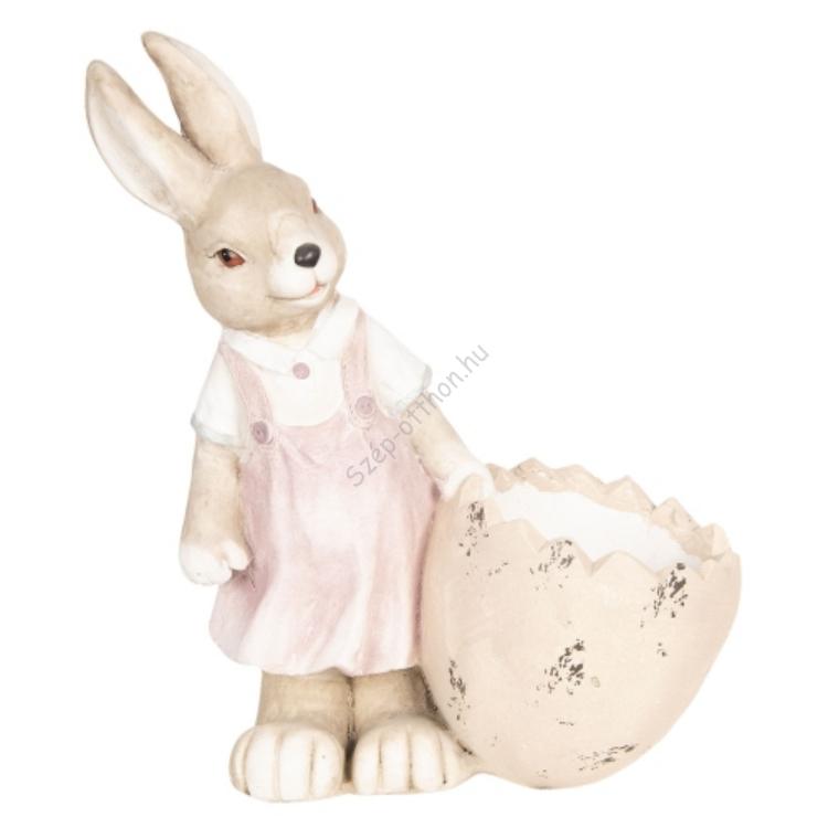Clayre & Eef 6TE0262 Húsvéti dekoráció 41x20x48cm,nyuszilány tojáskosárkával, kerámia