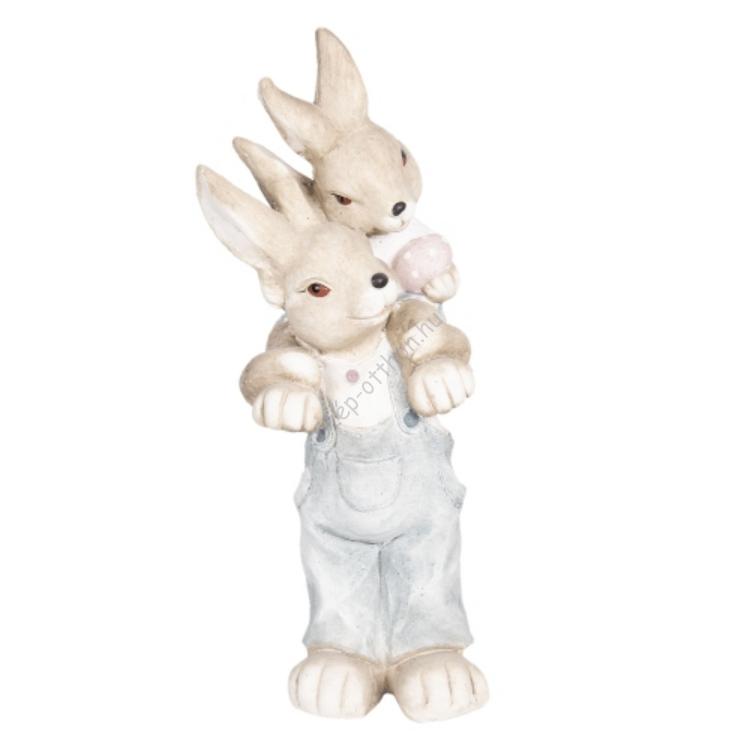 Clayre & Eef 6TE0263 Húsvéti dekorfigura 23x21x56cm,papanyúl kisnyuszival a nyakában