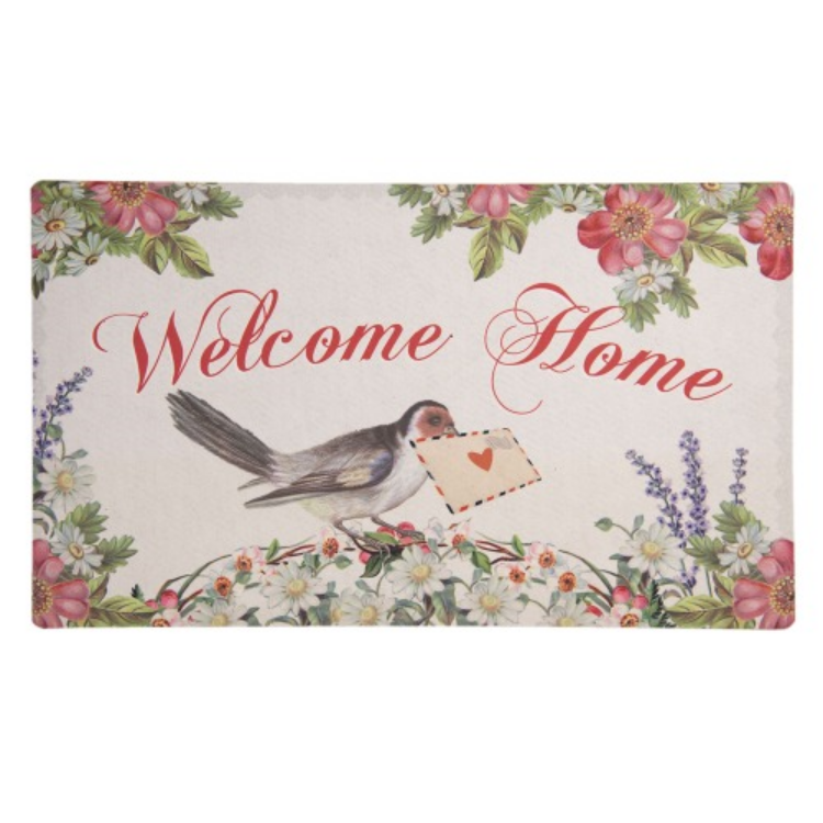 CLEEF.MC159 Előszoba belépő 74x44cm, gumi-polyester, Welcome Home-madaras