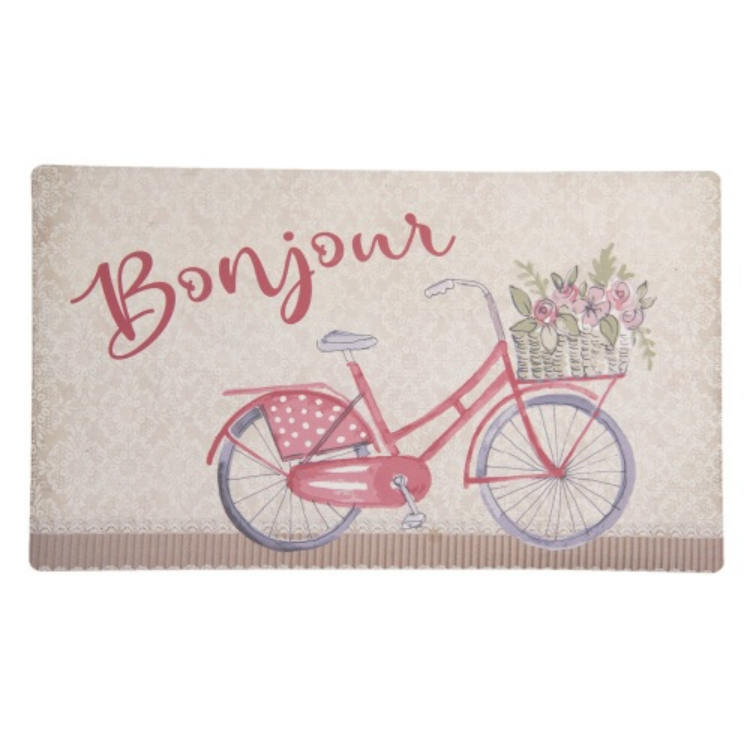 CLEEF.RBCMC Előszoba belépő gumi-polyester, 74x44cm, Bonjour-Red Bicycle