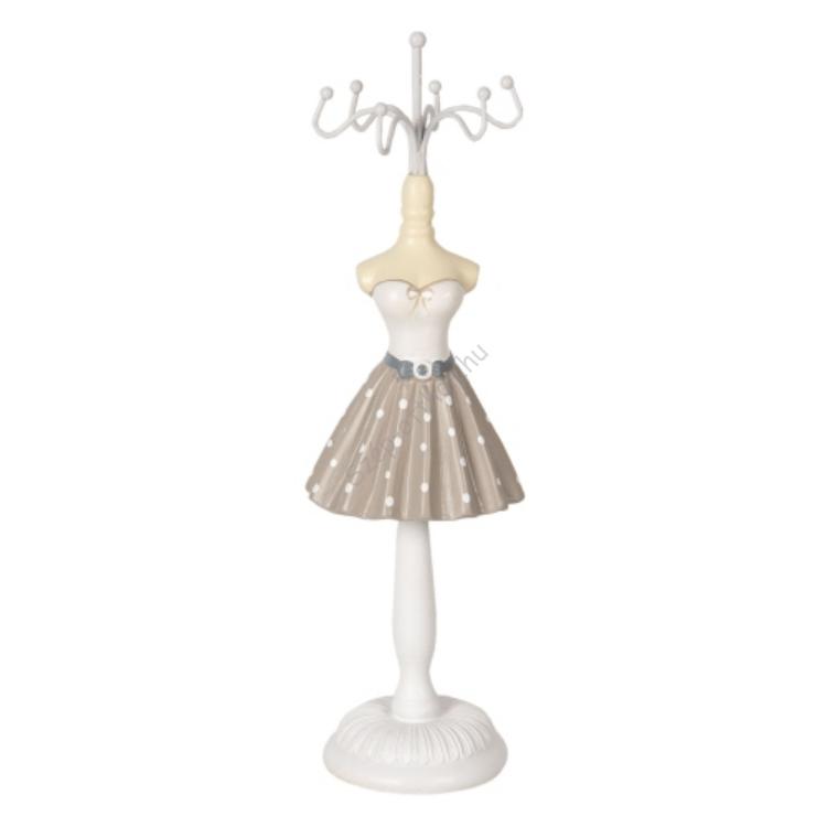 CLEEF.64463 Ékszertartó baba szürke szoknyás fehér pöttyökkel, 6x6x23cm, műanyag