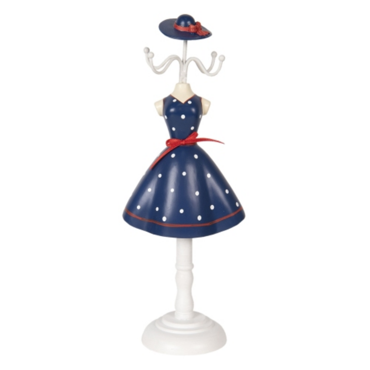 CLEEF.64475 Ékszertartó baba kék ruhás fehér pöttyökkel, 12x8x32cm, műanyag