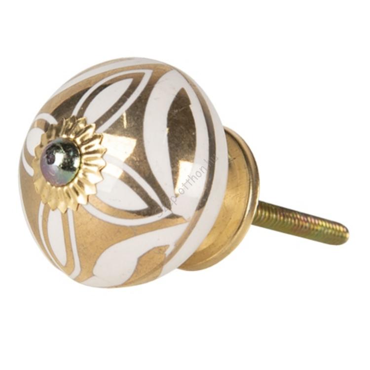CLEEF.64513 Ajtófogantyú 4x4cm kerámia,fehér-arany