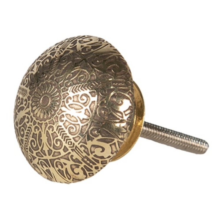 CLEEF.64520 Ajtófogantyú fém 4x4cm,arany mintás