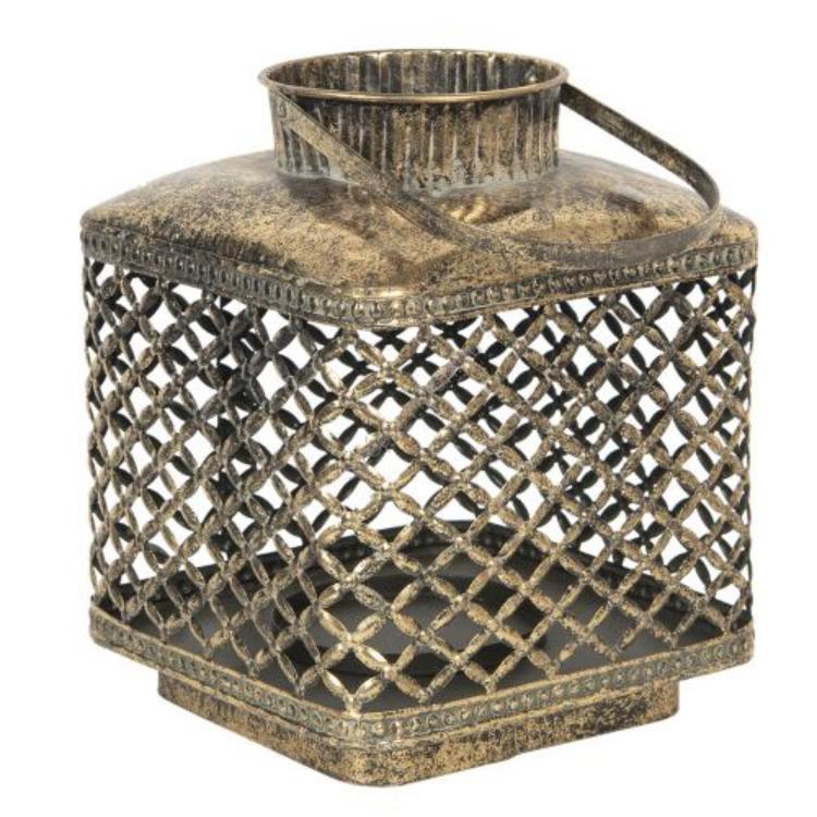 Óarany színű fém rácsos lantern üvegbúrával