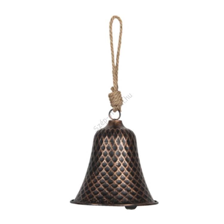 Felakasztható fém kolomp kötéllel, bronz színű