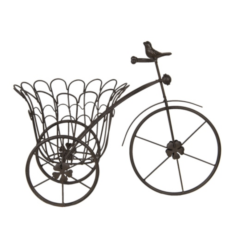CLEEF.6Y3817 Fém bicikli alakú virágtartó madárral 44x24x32cm
