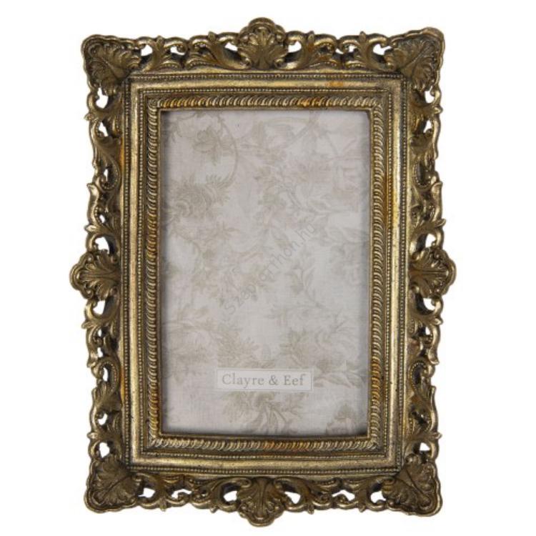 CLEEF.2F0695 Képkeret műanyag, 16x4x21/10x15cm, arany színű antik díszítésű
