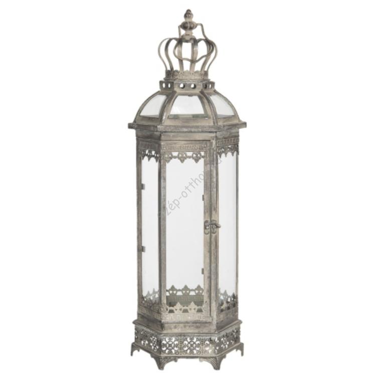 Fém/üveg lantern ezüstös, hatszögletű, 19x16x58cm