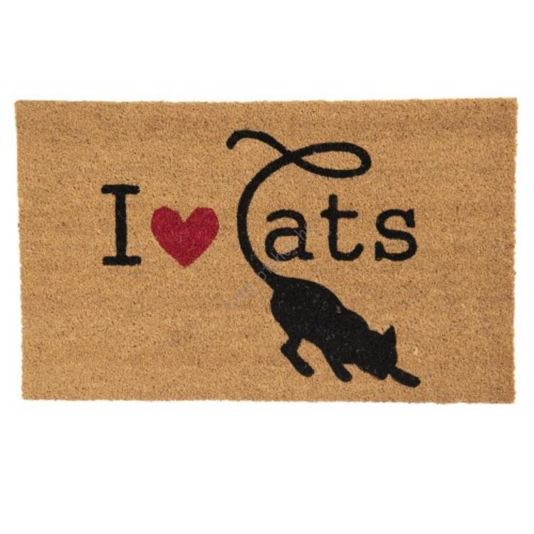CLEEF.MC166 Lábtörlő 75x45cm, kókusz-PVC, I Love Cats
