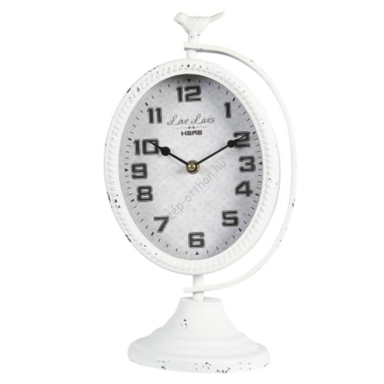 Antikolt fehér fém asztali óra