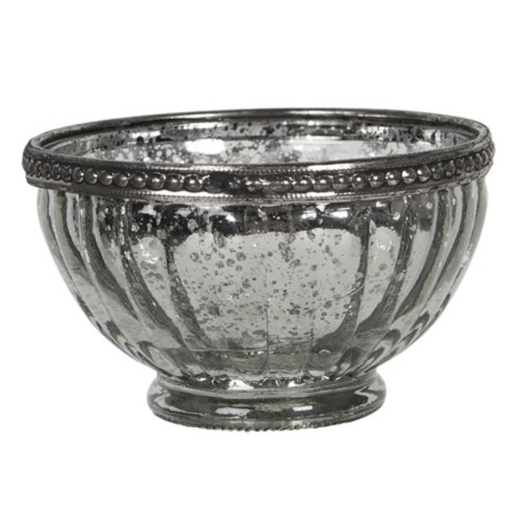 CLEEF.6GL2903 Ezüstös üveg mécsestartó fémperemmel, 10x6cm