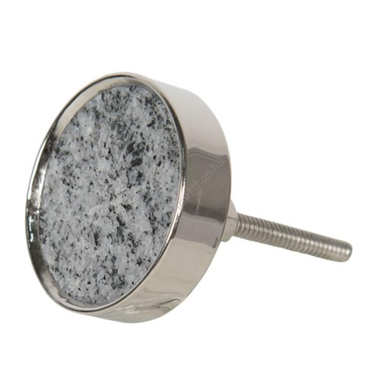 CLEEF.64699 Ajtófogantyú kerek, gránitos kő fém foglalatban, 4cm