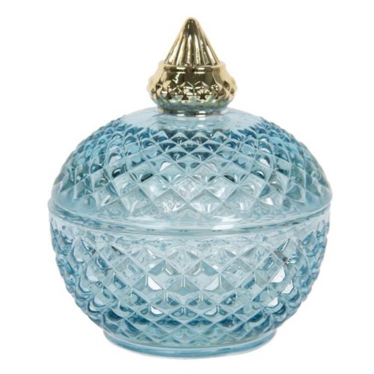 CLEEF.6GL2948BL Tárolóüveg rácsos, arany színű tetővel 9x11cm, kék