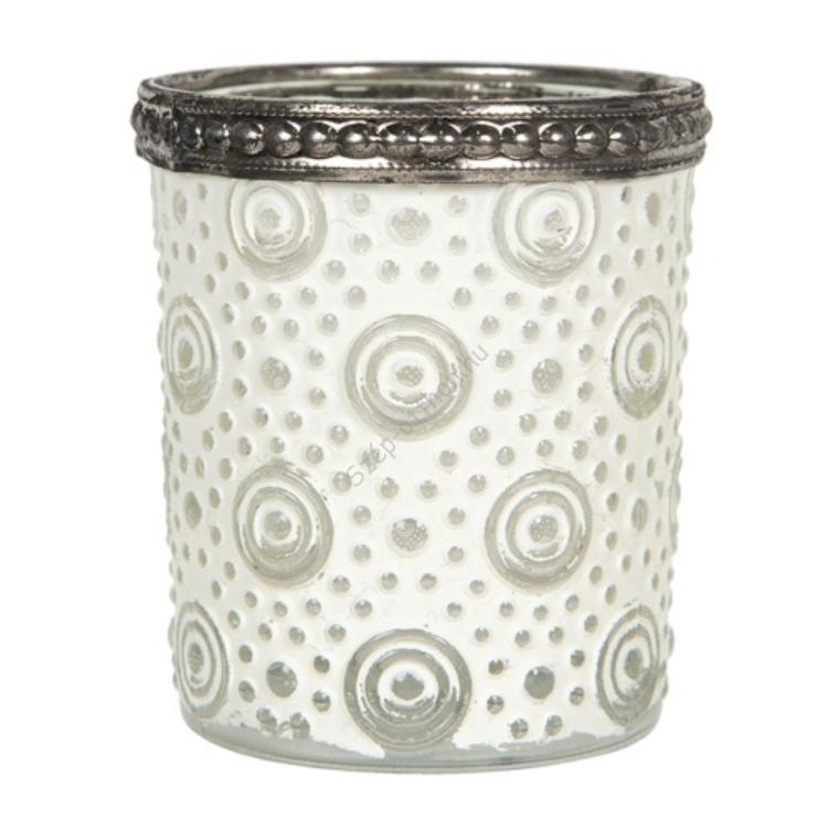 CLEEF.6GL2886 Mécsestartó fehérített üveg körkörös mintával, 5x6cm