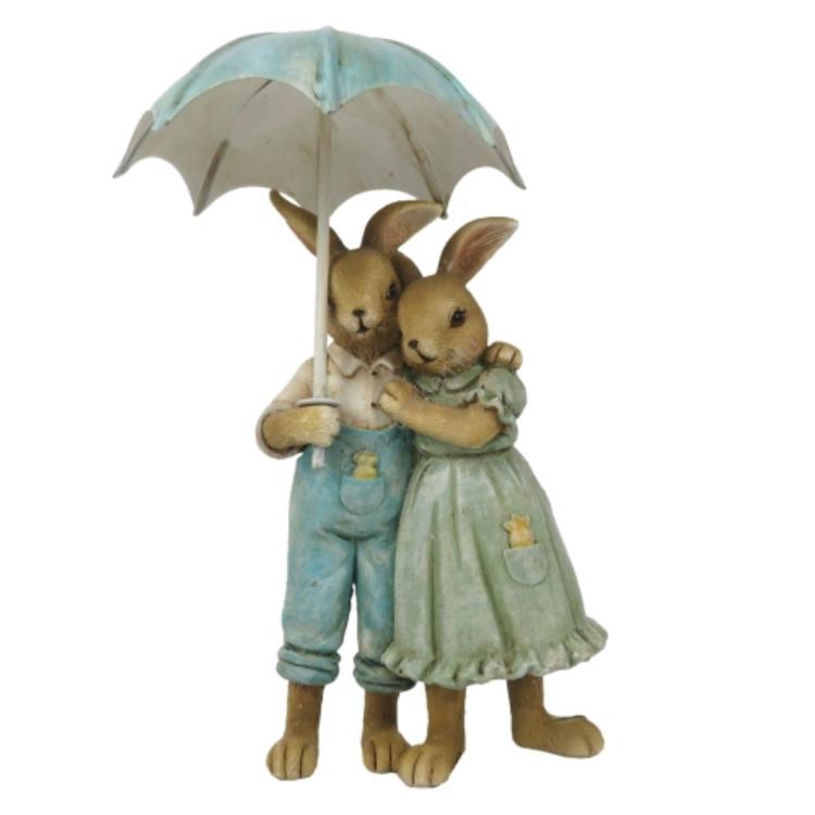 CLEEF.6PR3265 Nyuszipár esernyővel, 8x4x14cm, műanyag dekorfigura