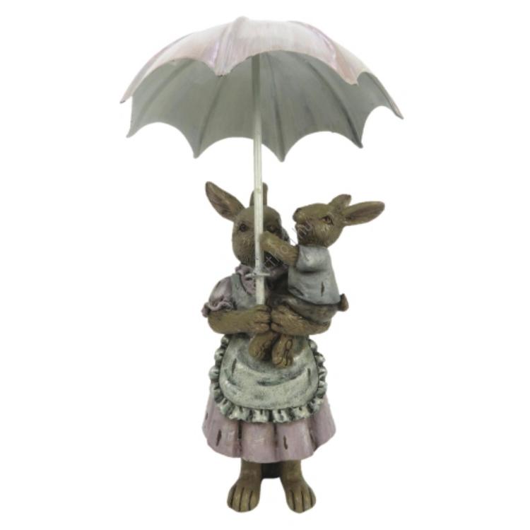 Esernyős nyuszimama ölében kisnyuszival 8x5x12cm, műanyag dekorfigura