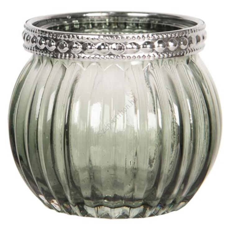 Clayre & Eef 6GL2510 Üveg mécsestartó 6,5x6,5cm zöld, fémperemes