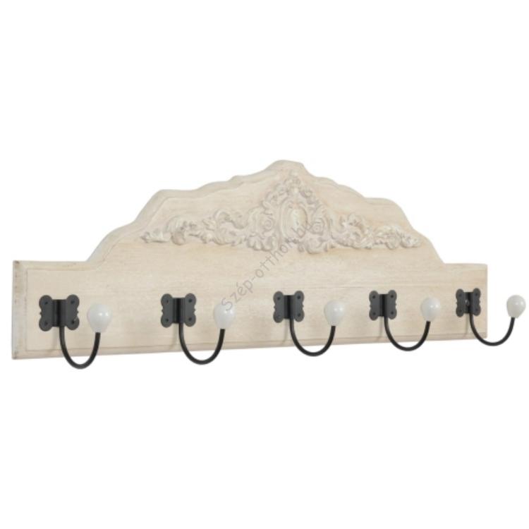Clayre & Eef 40436N Fa fogas 5-ös 80x27x10cm,díszes fejléccel,kerámia gombbal,fehér antikolt
