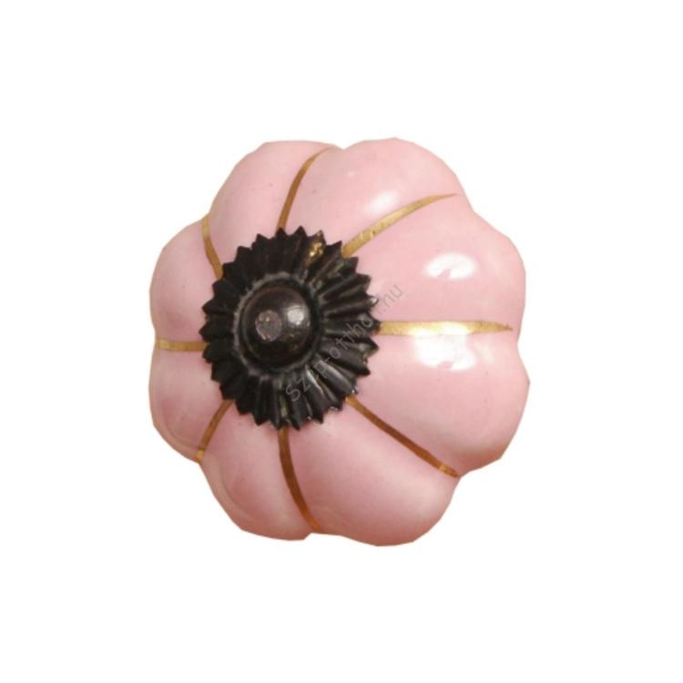 Clayre & Eef 60065 Ajtófogantyú 3,5cm,rózsaszín,arany csíkkal