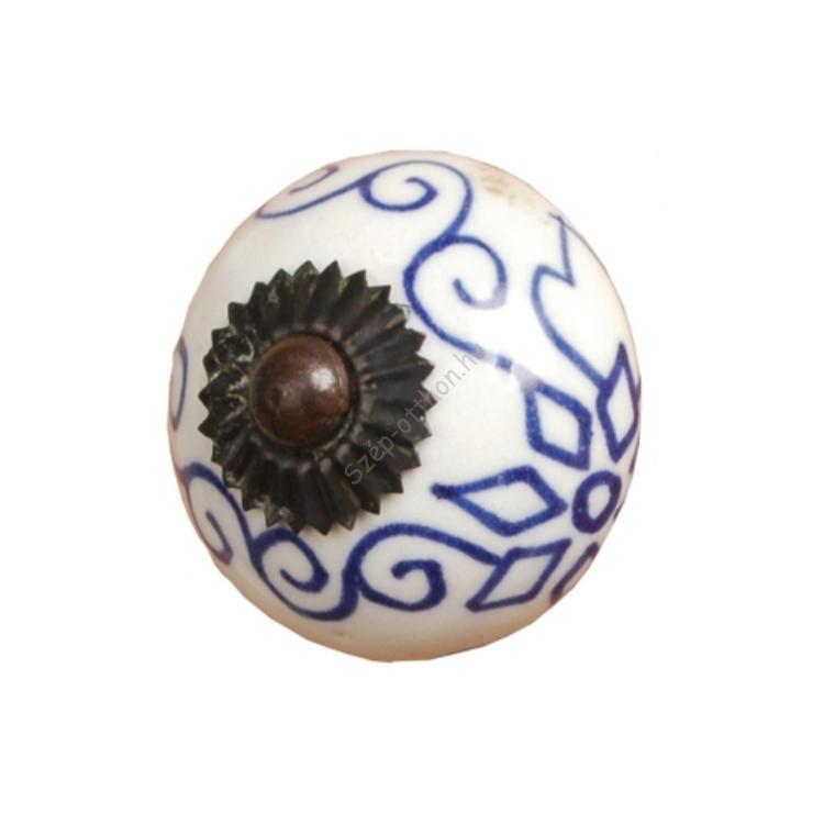 Clayre & Eef 60067 Ajtófogantyú 3,5cm,fehér,kék mintával
