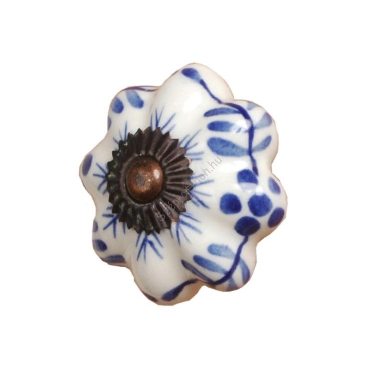 Clayre & Eef 60068 Ajtofogantyú 5x7,5cm,fehér,kék mintával