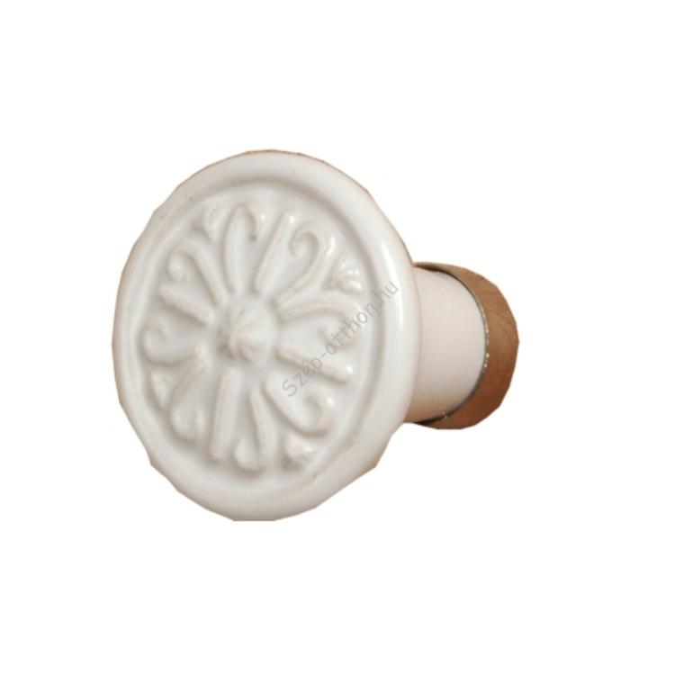 Clayre & Eef 60075 Ajtófogantyú 3x3x7,5cm,fehér,domború mintás
