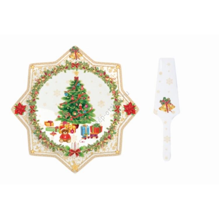 R2S.1000XGOL Süteményes tál lapáttal 32cm,Christmas gold