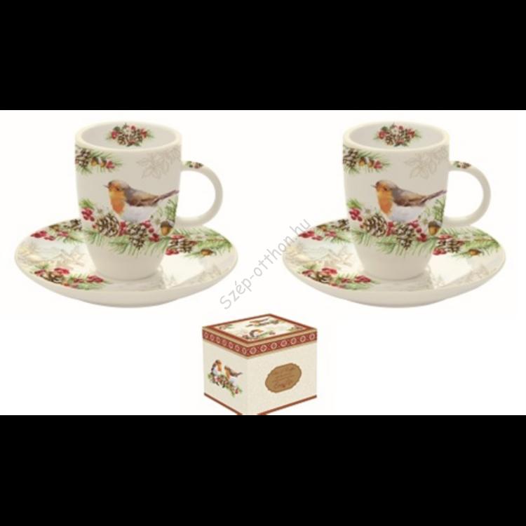 R2S.1460WIRO Porcelán espresso csésze+alj 2 személyes 50ml,dobozban,Winter Robin