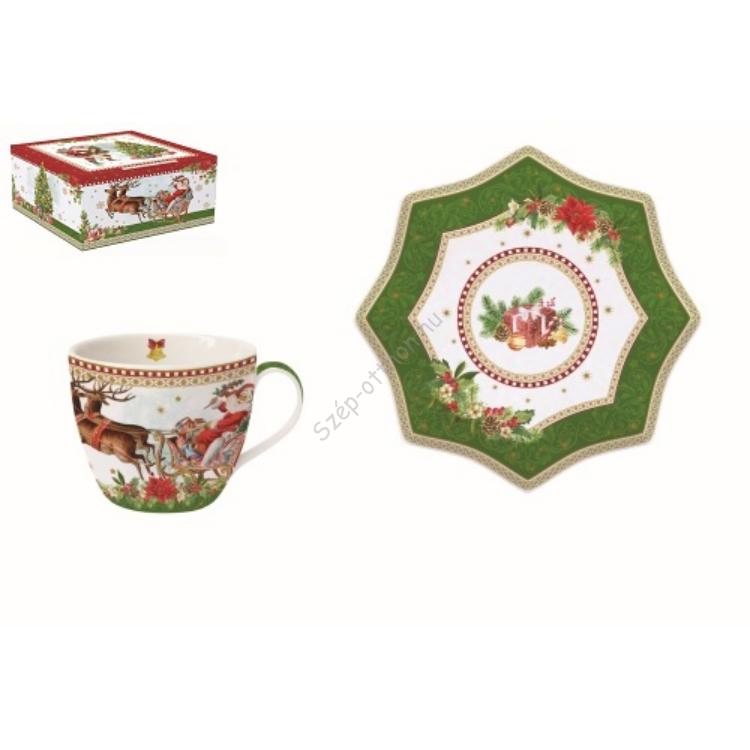 R2S.1012VING Porcelán teáscsésze+alj 250ml,dobozban,Vintage Christmas
