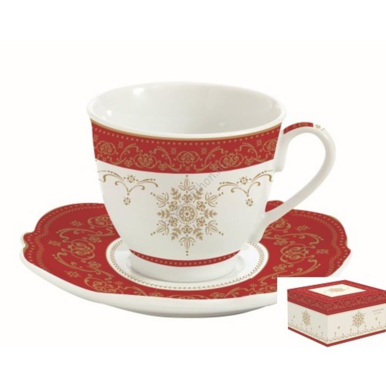 Porcelán csésze aljjal dobozban, 225ml, Hermitage