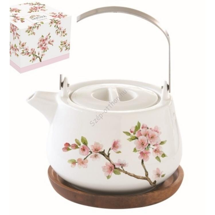 Porcelán teáskanna akácfa tálcán, 750ml, dobozban, Sakura